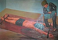 The waterboarding technique illustrated by for...