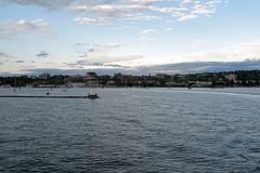 Burlington, Vermont, at dusk from Lake Champlain