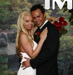 This photo provided by TMZ, shows Ryan Jenkins and Jasmine Fiore at their wedding in Las Vegas on March 18. (TMZ/Associated Press)