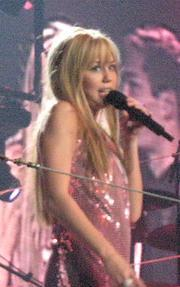 Hannah Montana aka Miley Cyrus on the stage of...