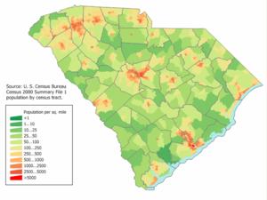South Carolina population density map.