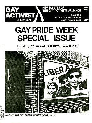 Gay Activist, a publication of the Gay Liberat...