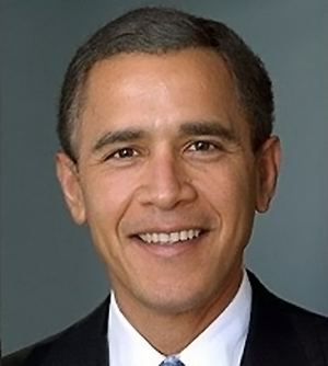 A picture of george bush and obama merged.